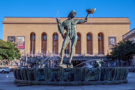 gothenburg: Gothenburg, Sweden - September 4, 2014: The iconic statue Poseidon by Carl Milles in front of Gothenburg art museum. Gothenburg is the second largest city in Sweden and an important harbor