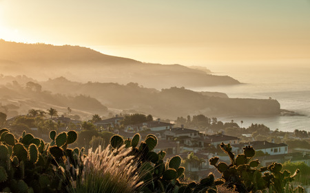 California coast south of Palos Verdes, Los Angeles at dawn Stok Fotoğraf