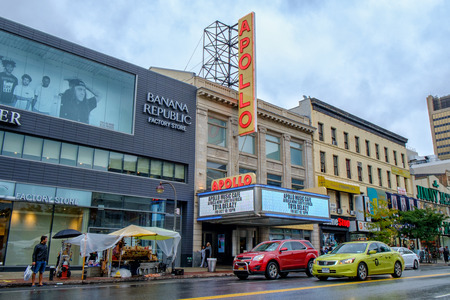 historic place: New York City, NY, USA - September 25, 2014: Apollo theater at 253 West 125th Street in Harlem. Apollo theater is a legendary music hall and a registered NYC landmark and a US National historic place.