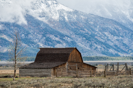 great plains: Abandoned barn at Mormon Row in Grand Teton National Park during autumn in Wyoming
