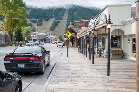 Jackson, WY, USA - October 1, 2014: US Highway 89 and Jackson Town Square. Jackson is a gateway for downhill skiing and for tourists visiting Grand Teton and Yellowstone.