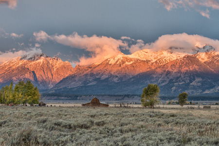western usa: Sunrise at Mormon Row in Grand Teton National Park during autumn