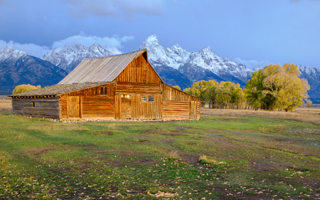 Sunrise at Mormon Row in Grand Teton National Park during autumn in Wyoming