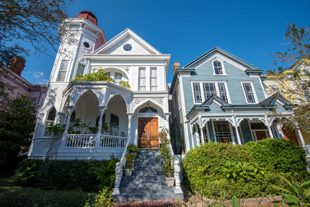 Savannah, GA, USA - October 12, 2014: Traditional residential architecture in Savannah, GA. Established in 1733 Savannah is the oldest town in Georgia.