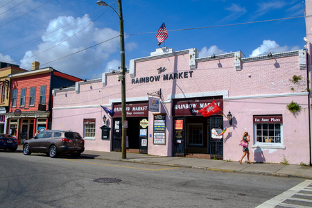sc: Charleston, SC, USA - October 13, 2014: Market Street with traditional architecture in Charleston, SC. Market Street has been the site of Charleston City Market since 1804.