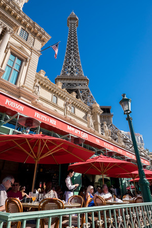 Las Vegas, USA - October 6, 2014: Exterior of Paris Las Vegas at Las Vegas Boulevard. It is one of the largest hotels in Las Vegas with almost 3000 rooms.