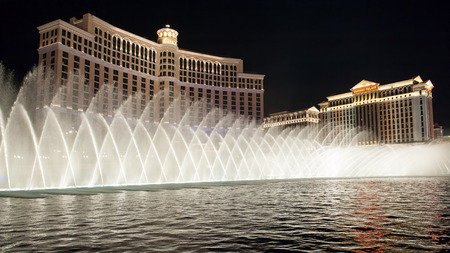 Las Vegas, USA - April 7, 2011: Fountains of Bellagio by night. Fountains of Bellagio, which have featured in several movies, is a large dancing water fountain synchronized to music.