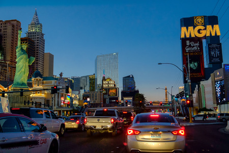 las vegas strip: Las Vegas, USA - October 7, 2014: Las Vegas Boulevard by night. Six of the worlds ten largest hotels are situated on Las Vegas Boulevard.