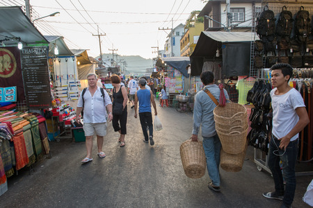 hua hin: Hua Hin, Thailand - January 18, 2015: Tourists stroll at the night market in Hua Hin.  The famous night market in Hua Hin is a major tourist attraction. Editorial