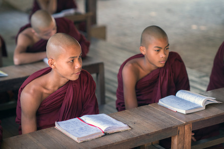 shaved head: Bagan, Myanmar - February 8, 2014: Young Burmese novice monks study books. Buddhists in Myanmar belong mainly to the Thervada tradition.