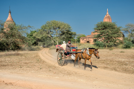 horse cart: Bagan, Myanmar - February 7, 2014: Tourist explores the archeological sites at Bagan in a horse cart. Bagan is famous for its thousands of temples, pagodas and stupas.