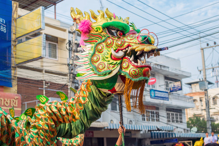 hua hin: Hua Hin, Thailand - February 18, 2015: Chinese New Year celebration parade in Hua Hin. In Thailand New Year is celebrated on three occasions, the Gregorian, the Chinese and Songkran.
