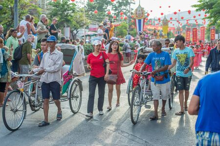 hua hin: Hua Hin, Thailand - February 18, 2015: Thai people celebrating Chinese New Year with a parade in Hua Hin. In Thailand New Year is celebrated on three occasions - the Gregorian, the Chinese and Songkran.