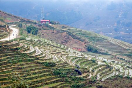 cultural diversity: Rice terraces on a rainy and foggy day outside Sapa in the Lao Cai province of Vietnam. Sapa is famous for its rugged scenery and its rich cultural diversity.