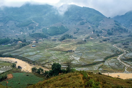 sapa: Rice terraces on a foggy day outside Sapa in the Lao Cai province of Vietnam. Sapa is famous for its rugged scenery and its rich cultural diversity. Stock Photo