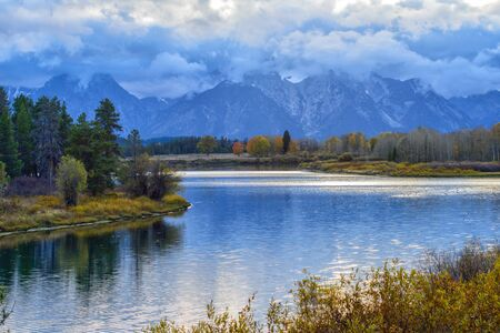 oxbow: Oxbow Bend in Grand Teton National Park during autumn in Wyoming