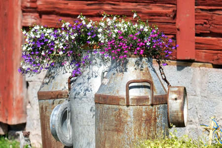 milk containers: Traditional old milk containers decorated with summer flowers in the Swedish folklore district Dalecarlia.