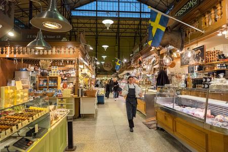market hall: Stockholm Sweden  November 10 2014: Ostermalm market hall in Stockholm. The famous Ostermalm market hall was opened in 1888.