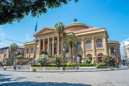 massimo: Palermo Italy  June 9 2015:  Teatro Massimo Vittorio Emanuele in Palermo Sicily. The opera house which opened 1897 figures in the final scenes of Godfather III.
