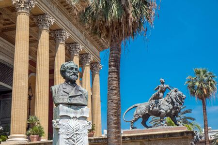 verdi: Palermo Italy  June 9 2015:  Bust of Verdi outside Teatro Massimo Vittorio Emanuele in Palermo Sicily. The opera house which opened 1897 figures in the final scenes of Godfather III. Editorial