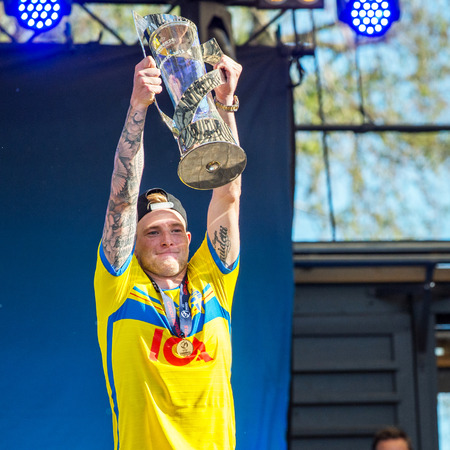 Stockholm, Sweden  July 1, 2015: John Guidetti from the team that won the countrys first UEFA European Under-21 Championship title enjoy public celebration on returning back to Sweden.
