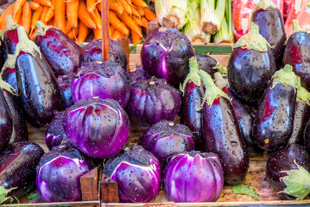 Eggplants at a Sicilian market in Palermo