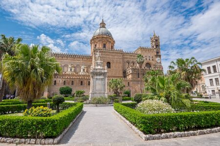 additions: The Cathedral in Palermo, Sicily. The cathedral was built in 1185 and is characterized by various styles due to subsequent additions