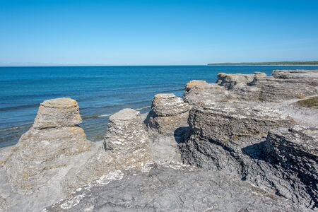 oland: Byrum seastacks on Oland and the Baltic Sea. Oland is a popular tourist destination in Sweden.