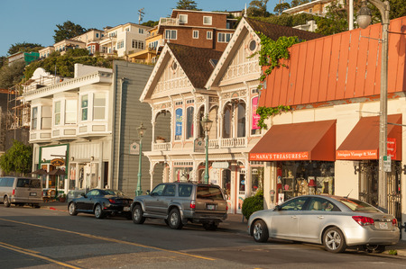 marin: Sausalito, USA - May 2, 2012: Early morning in Sausalito, CA. Sausalito is a picturesque San Francisco Bay area city in Marin County near the northern end of Golden Gate bridge.
