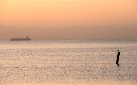 san francisco bay: Tanker cruising in San Francisco Bay, California