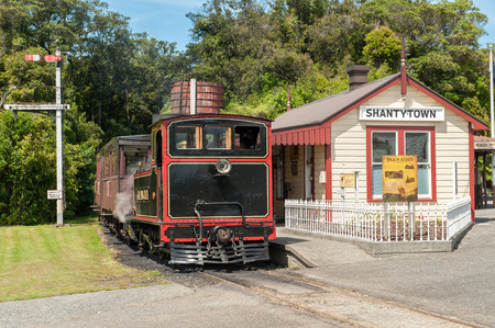 shantytown: Greymouth, New Zealand - February 12, 2012: Shantytown Heritage Park south of Greymouth is a recreated gold rush settlement that exhibits the life and atmosphere of the gold rush i the 19th century. Editorial