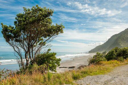 west  coast: Tasman sea rolls in south of Punakaiki on the west coast of South Island, New Zealand