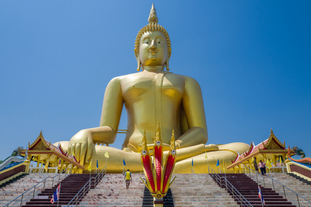 ang thong: Ang Thong, Thailand - March 1, 2016: The Great Buddha of Thailand at Wat Muang. Temple in Ang Thong Province. The Buddha is the largest in Thailand measuring 92 meters in height.