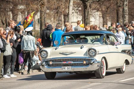 bel air: Norrkoping, Sweden - May 1, 2013: Chevrolet Bel Air 1957 at the classic car parade celebrating spring on May Day in Norrkoping. This parade started in 1974 and has become an annual tradition in Norrkoping on May 1.