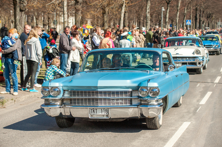 Norrkoping, Sweden - May 1, 2013: Cadillac 1963 at the classic car parade celebrating spring on May Day in Norrkoping. This parade started in 1974 and has become an annual tradition in Norrkoping on May 1.
