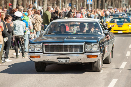 custom car: Norrkoping, Sweden - May 1, 2013: Dodge Polara Custom 1973 at the classic car parade celebrating spring on May Day in Norrkoping. This parade started in 1974 and has become an annual tradition in Norrkoping on May 1.