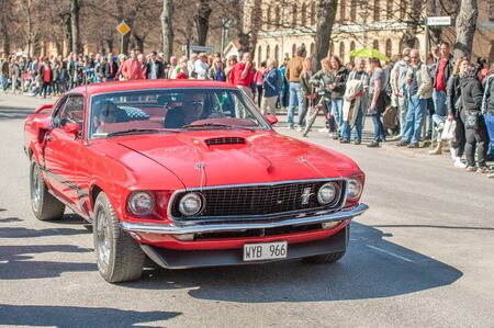 mach 1: Norrkoping, Sweden - May 1, 2013: Ford Mustang Mach 1 1969 at the classic car parade celebrating spring on May Day in Norrkoping. This parade started in 1974 and has become an annual tradition in Norrkoping on May 1. Editorial
