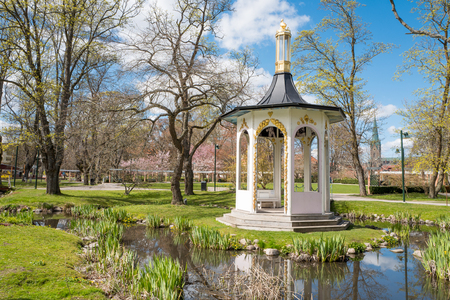 pavillion: Spring in the iconic park Tradgardsforeningen. This is a historic park in Linkoping, which is a famous University town. Stock Photo