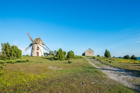 summer nature: Old windmill on Baltic sea island Gotland during summer in Sweden