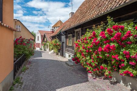Middeleeuwse steeg in de historische Hanzestad Visby op Zweedse Oostzee-eiland Gotland.