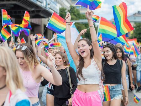 bisexual women: Stockholm, Sweden - July 30, 2016: Stockholm Pride Parade was followed by almost half a million spectators despite mixed weather. The Stockholm Pride festival has been held annually since 1998. Editorial