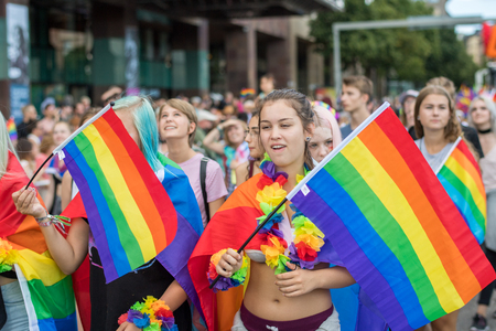 Stockholm, Sweden - July 30, 2016: Stockholm Pride Parade was followed by almost half a million spectators despite mixed weather. The Stockholm Pride festival has been held annually since 1998