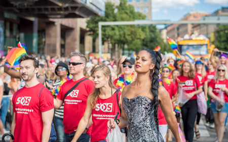 Stockholm, Sweden - July 30, 2016: Stockholm Pride Parade was followed by almost half a million spectators despite mixed weather. The Stockholm Pride festival has been held annually since 1998. Editorial