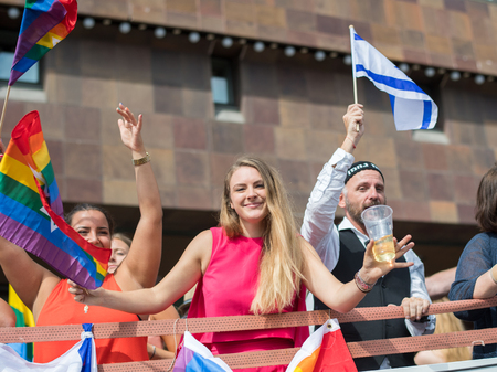 Stockholm, Sweden - July 30, 2016: Stockholm Jewish community  participated in Stockholm Pride Parade 2016, which  was followed by almost half a million spectators. The Stockholm Pride festival has been held annually since 1998.