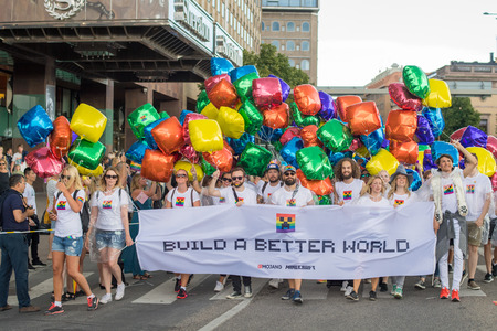 bisexual women: Stockholm, Sweden - July 30, 2016: Stockholm Pride Parade was followed by almost half a million spectators despite mixed weather. The Stockholm Pride festival has been held annually since 1998