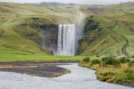 skogafoss waterfall: Skogafoss waterfall located at Skogar in southern Iceland. Skogafoss is one of the largest waterfalls in Iceland with a height of 60 meters.