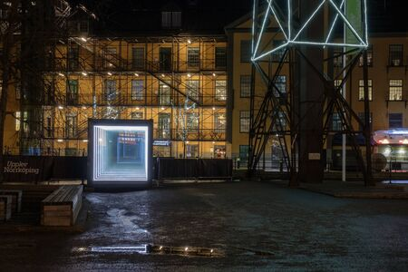paesaggio industriale: Norrkoping, Sweden - December 8, 2016:  Norrkoping Light festival 2016-2017 in the unique industrial landscape in the city center of Norrkoping.  Norrkoping is a historic industrial town in Sweden