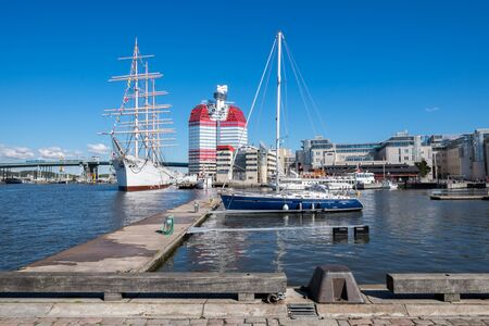 lilla: Gothenburg, Sweden - September 4, 2014: Lilla bommen harbor with famous ship Viking in Gothenburg. Viking is a four-masted steel barque built in 1906, which currently is used as a hotel.