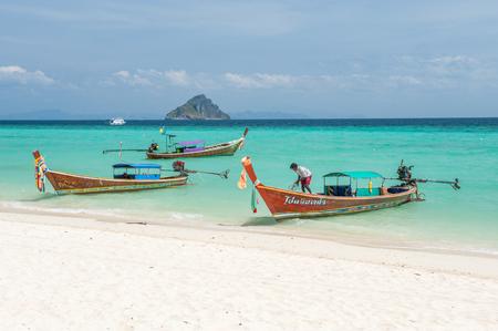 Phi Phi Islands, Thailand - February 23, 2009: Laem Tong Beach in Phi Phi Islands. Phi Phi Islands is a popular tour destination from Phuket and Krabi.