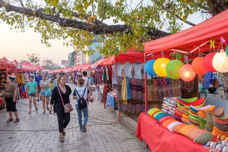 laotian: ientiane, Laos - February 8, 2017: The night market in Vientiane. The famous night market is a major tourist attraction in the capital of Laos. Editorial